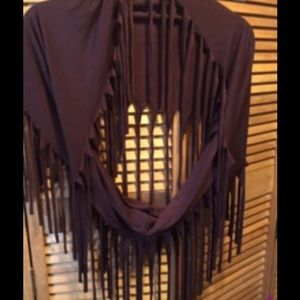 Brown Fringed Infinity Scarf